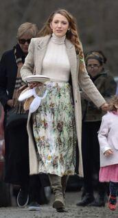 skirt,blake lively,midi skirt,top,turtleneck,coat,celebrity