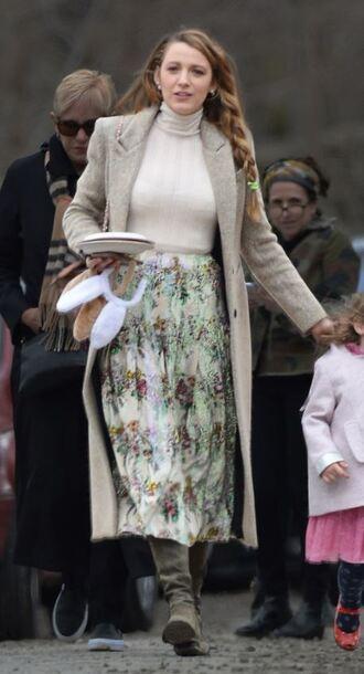 skirt blake lively midi skirt top turtleneck coat celebrity