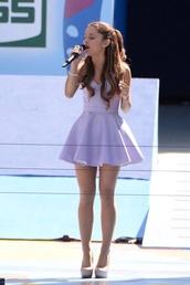 dress,purple dress,ariana grande,lavender dress,shoes,wedding,girly,mini dress,lavender,spring dress,style,strapless dress,homecoming dress,formal event outfit,prom dress,blouse,lavendel,skaterdress,homecoming,purple,cute,heels