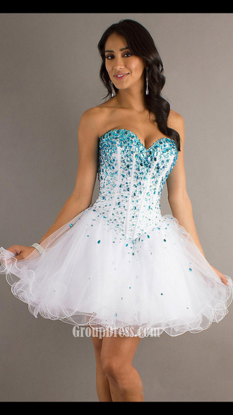 dress white blue rubs mori lee sequin dress corset dress sequins strapless tutu corset turquoise amazing light blue and white short prom dress white dress homecoming dress blue tooling graduation dress formal