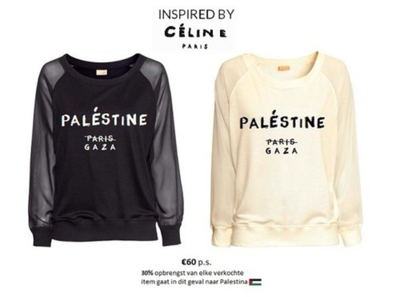 paris palestine celine gaza sweater