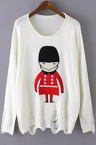 sweater winter outfits top ripped white red black cute cartoon knitwear long sleeves fall outfits winter sweater