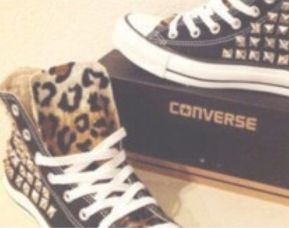 cheetah print shoes converse shoes with spikes cheetah and spikes
