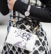bag,tumblr,Accessory,embroidered,embroidered bag,clutch,watch,silver watch,accessories,printed bag