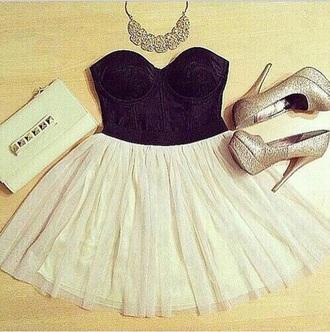 dress fancy dress love cute heels glitter gold bustier fancy skirt black and white homecoming velvet weheartit