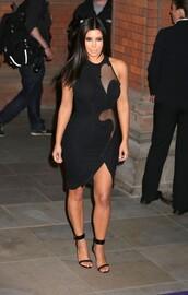 dress,black,kim kardashian,mesh dress,bandage dress,mini dress,cut-out,bodycon dress,kardashians,fashion,runway,stella mcartney,custom dress,see through,see through dress,little black dress