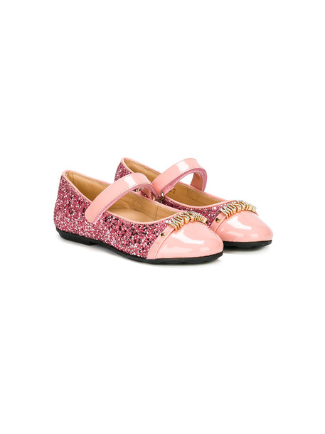 Moschino Kids 23 leather purple pink shoes