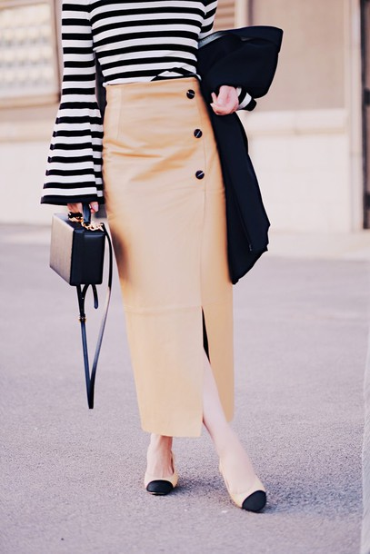 skirt tumblr maxi skirt wrap skirt slit skirt leather skirt camel camel skirt shoes mid heel pumps bag boxed bag black bag bell sleeves top stripes striped top