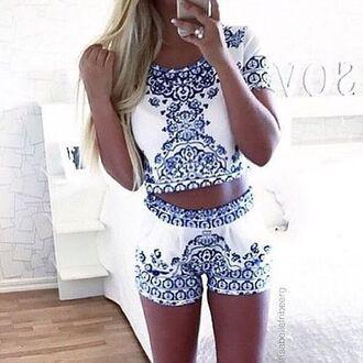 shorts ethnic print top summer beach cute aztec boho set two-piece fashion style