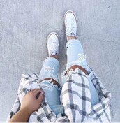 jeans,mxlisa.xo,ripped jeans,blue,blue jeans,light blue jeans,style me,beautiful,tumblr,tumblr outfit,tumblr outfir,dope,dope wishlist,cute,cute outfits,cute shoes,converse,white,white converse,converse all star beach glass,plad shirt,black and white,flannel shirt,trendy