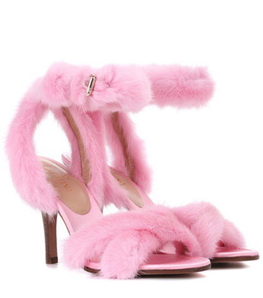 Valentino fur sandals pink shoes