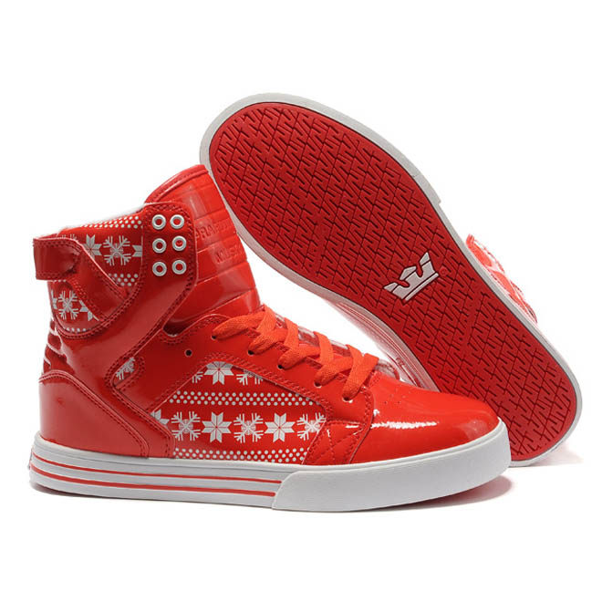 Supra Red White Skytop Women Snowflake Skate Shoes