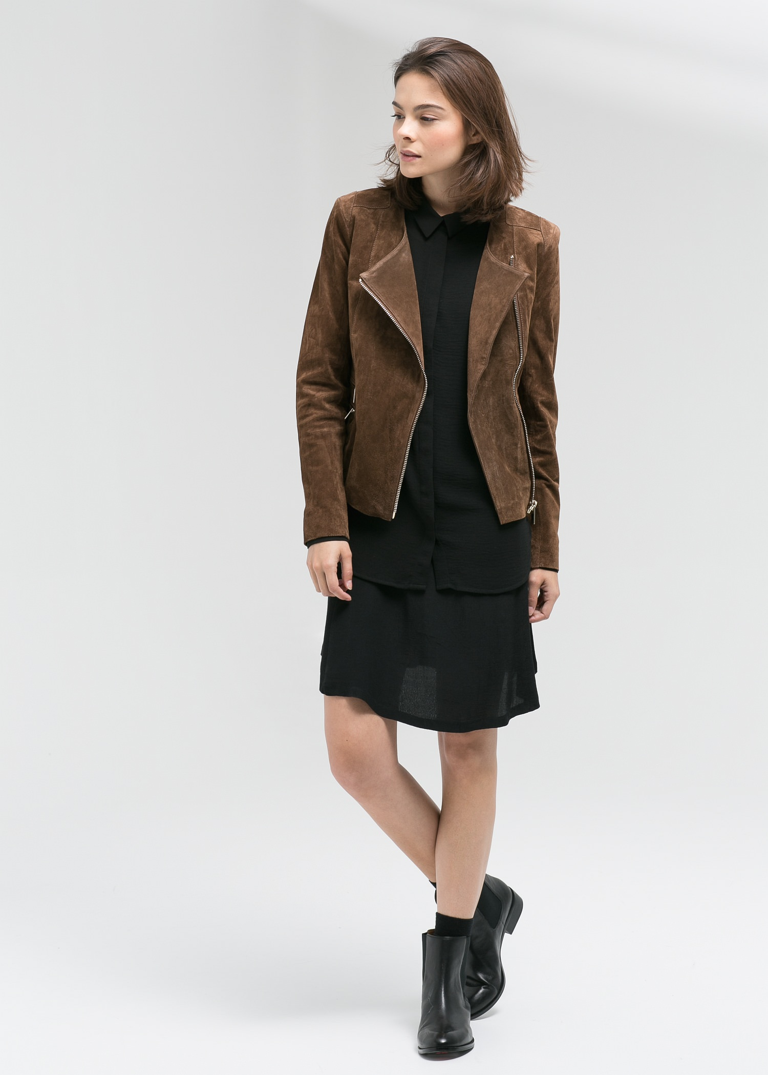 Peccary leather jacket - Jackets for Women | MANGO