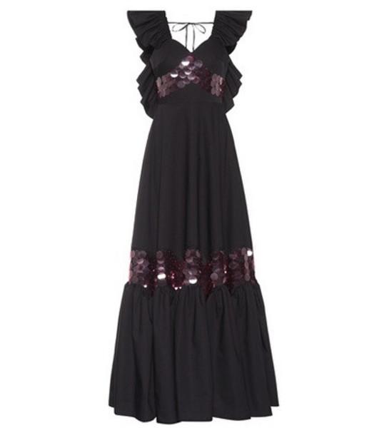 Huishan Zhang Ruffled paillette dress in black