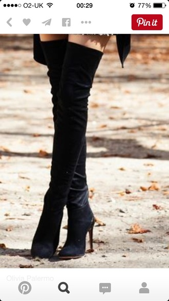 shoes high heel boots boots over the knee boots black boots
