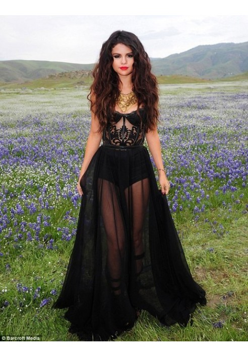 Selena Gomez Black Lace Chiffon Evening Prom Celebrity Dress Come & Get It