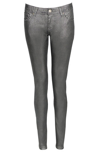 Alla Metallic Silver Skinny Jeans - Pop Couture