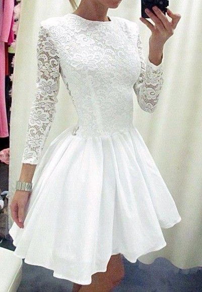dress long sleeves white white dress white lace dress fit and flare lace lace dress