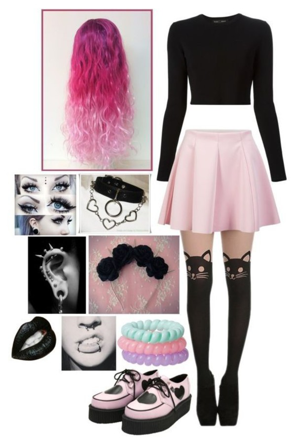 Skirt Pastel Goth Pink Skirt Black Shirt Cat Tights Shoes Jewels Wheretoget