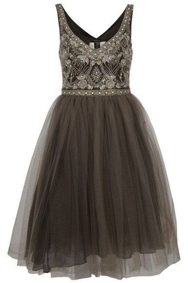 dress grey beaded pretty beautiful short tulle fancy classy