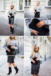 fanny lyckman,blogger,bag,jewels,slit skirt,black leather skirt,leather skirt,grey sweater,cropped sweater,alexander wang,work outfits,urban,front slit skirt