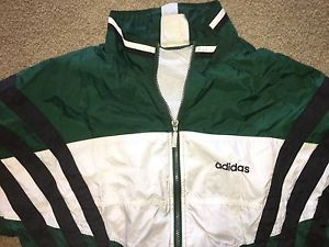 Vintage Adidas men's Large Green full-zip long-sleeve striped windbreaker