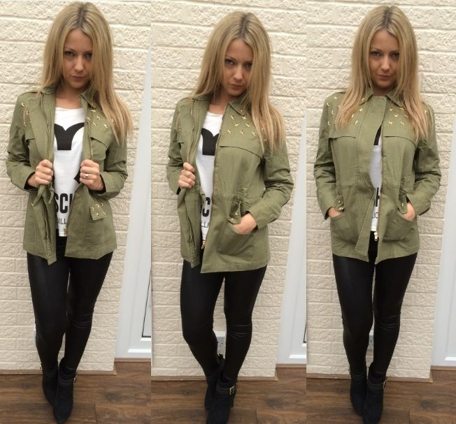 Womens Zip Khaki Military Army Vintage Casual Long Sleeve Over ...