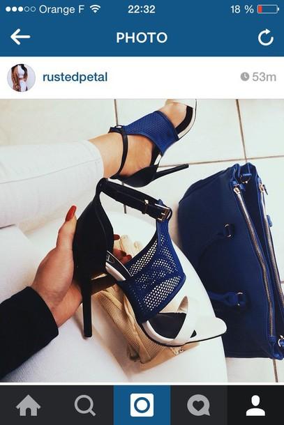 shoes fashion high heels make-up nails black white and blue heels blue and white high heel sandals
