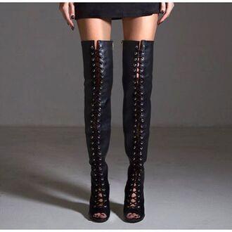 shoes otk black boots otk heels lace up heels black lace up heels angl thigh high boots
