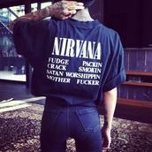 shirt,nirvana,t-shirt,grunge,band t-shirt,rolled up sleeves,rolled sleeves,dark blue,navy,rock,punk rock,hannah pixie snowdon,crop tops