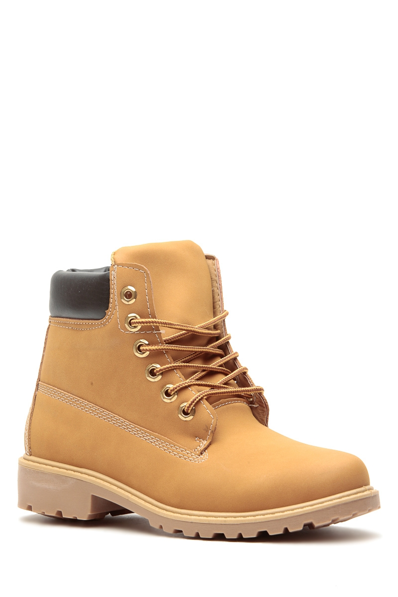 camel faux nubuck lace up hiker boots cicihot boots
