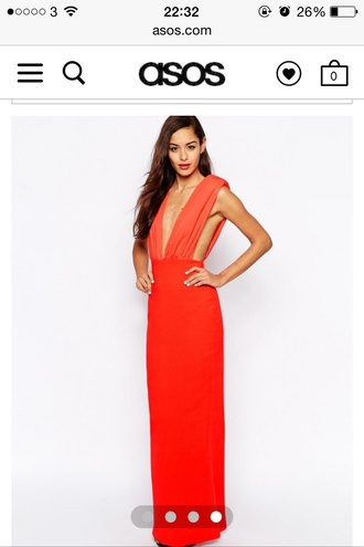 dress orange dress plunge dress plunge neckline prom dress wedding dress gown floor length dress backless dress