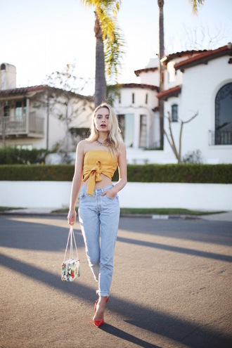 le fashion image blogger mom jeans bustier mustard red heels bow cute outfits spring outfits spring top