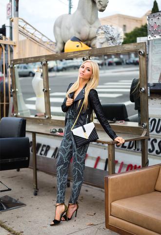 angel food blogger jumpsuit print leather jacket sandals