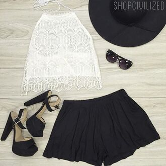 tank top lace lace tank top crop tops white white tank top white lace shorts skorts black black shorts shoes