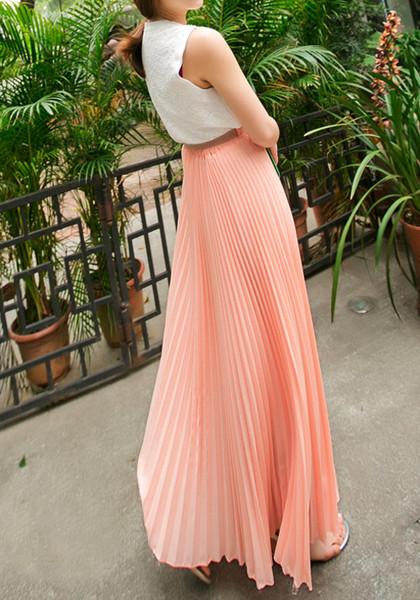 White Pleated Long Skirt - Dress Ala