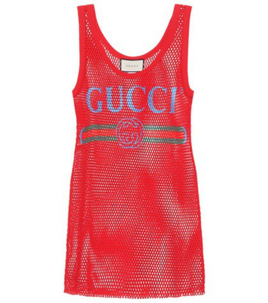 tank top top mesh cotton red