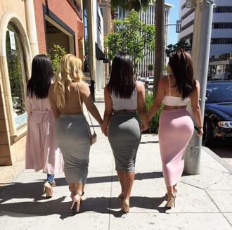 skirt bodycon skirt midi skirt grey pink charcoal