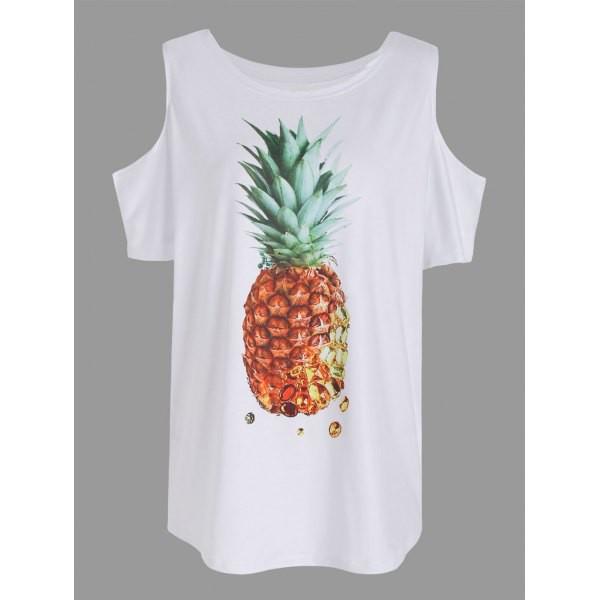 Rosewholesale Pineapple Print Cold Shoulder T Shirt