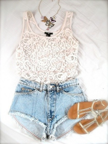 sandals lace shirt cool girl style shirt lace summer outfits white denim shorts shoes tank top knitted top top jewels necklace blue kimchi blue clothes jeans blouse lace top white top white laced top