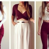 top,red,chic,jeans,burgundy,colorful,boots,heels,maxi skirt,clothes,outfit,tumblr,tumblr outfit,tumblr girl,tumblr clothes,pintrest,trendy,girly,hipster,perfecto,flawless,on fleek,blouse,socks,skirt,pants,shirt,red skirt,red crop top,white skirt,white crop tops,black booties,brown boots,burgundy skirt,cute skirt,cute,fashionista,style,fashion,lace top,shoes