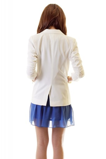Ruched sleeve single button blazer white