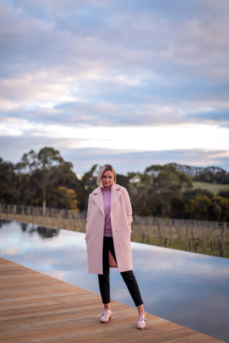 late afternoon blogger coat pants sweater shoes pink coat fall outfits black pants