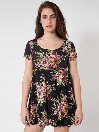 Large Floral Printed Rayon Babydoll Dress   | American Apparel