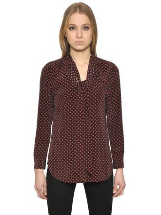 shirt silk black red top