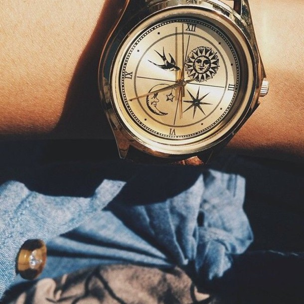 jewels watch cool watch sun&moon birds clock birds sun moon bohoo moon and sun vintage watch gold clock women watches cute watch