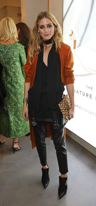blouse top pants olivia palermo blogger ankle boots london fashion week 2016