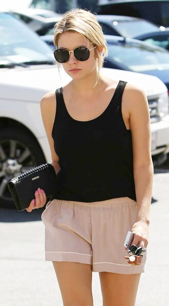 sunglasses top nude shorts ashley benson celebrity style celebrity actress tank top black tank top black top shorts black sunglasses summer top summer shorts summer outfits