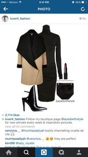 coat,wool,turtleneck dress,high heels