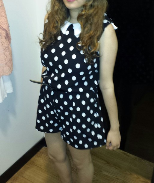 jumpsuit polka dots romper black and white